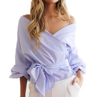 Autumn Women Sexy Fashion Blouse V Neck Puff Sleeve Cross Bandage Bow Tie Sashes Off Shoulder Blouses Shirts Ladies Tops