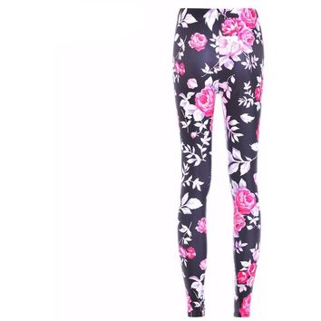 Black Pink Awesome Flower Pencil Leggings