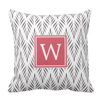 Modern Stylish Gray White Leaves Pattern Monogram Throw Pillow