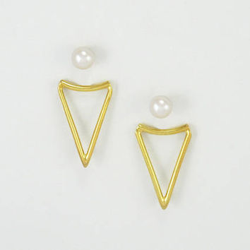 GOLD Ear Jacket Earrings. 14k Gold Plated Double Sided Triangle Earrings with Pearl Studs. Front Back Edgy Statement Geometric Jewelry.