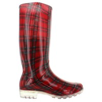 Kixters Otter - Red Plaid Shiny Tall Rubber Rain Boot