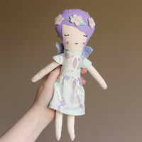 "Cloth Baby Doll Fairy Organic Cotton Fabric & Wool Blend Felt Toy for Girls 10.75"" ish Boho Flower Crown Fairy Gift"