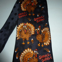 Mens Vintage Thanksgiving Turkey Gobble Gobble Silk Tie Necktie