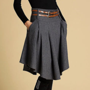 Dark grey wool skirt mini skirt (359)