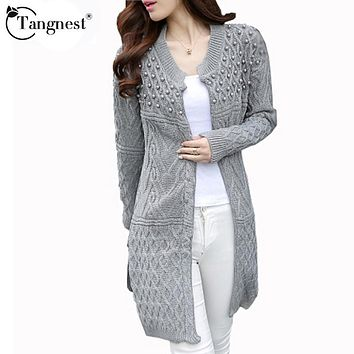 TANGNEST Women Long Cardigan 2017 Autumn Winter Plus Size Korean Style  Beadings Pearls Long Knitted Sweater Outwear WZL666