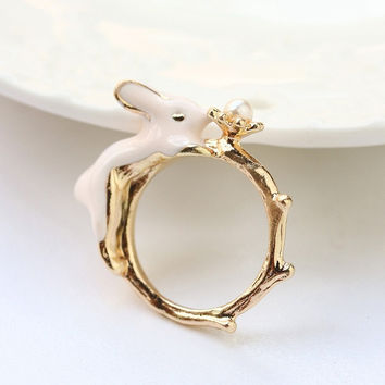 Shiny Stylish New Arrival Jewelry Gift Rabbit Plaid Ring [6586207367]