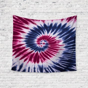 Patriotic Swirl Red White Blue Trendy Boho Wall Art Home Decor Unique Dorm Room Wall Tapestry Artwork