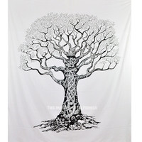 Black  White Desert Tree of Life Wall Tapestry, Indian Cotton Fringed Bedspread on RoyalFurnish.com