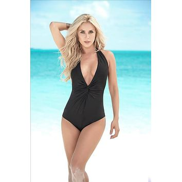 Mapale Black Deep Plunge Stripe Detailed In The Back One Piece Swimsuit