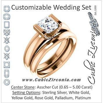 CZ Wedding Set, featuring The Tory engagement ring (Customizable Cathedral-style Bar-set Asscher Cut Ring with Prong Accents)