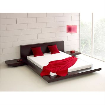Queen Modern Platform Bed w/ Headboard and 2 Nightstands in Espresso