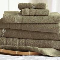 6 Piece Embroidered Egyptian Cotton Towel Set – Vintage Ribbon – (Taupe)
