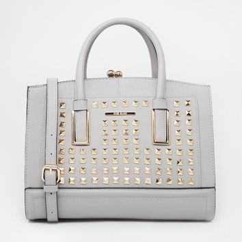 Grey Studded Frame Bag