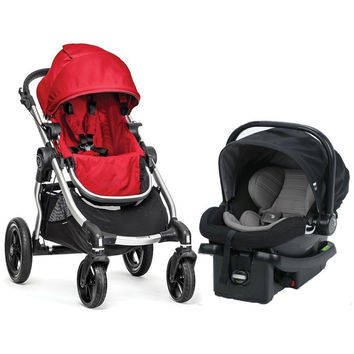 Baby Jogger City Select Travel System Stroller w City Go Infant Car Seat Ruby