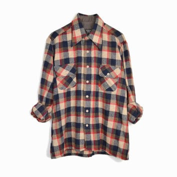 Vintage Men's Check Plaid Wool Shirt in Red Tan & Navy - 1970s Lumberjack Shirt