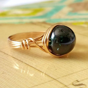 Green Goldstone Ring, Wire Wrapped Jewelry Handmade, Green Ring