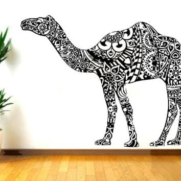Wall Decal Camel Vinyl Sticker Decals Desert Indian Elephant Floral Patterns Mandala Tribal Buddha Ganesh Om Home Decor Bedroom NS449