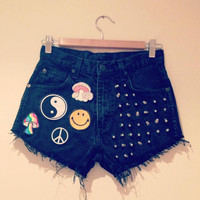 High waisted vintage denim studded shorts with 90's grunge patches