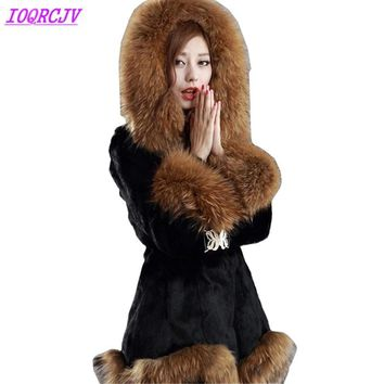Faux fur jackets women 2018 autumn and winter Rabbit hair fur coat Thick Hooded fox fur collar Plus size fur coats IOQRCJV H380