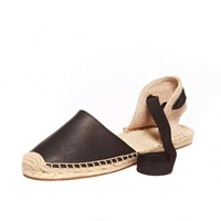 Sandal - Leather Black Espadrilles for Women from Soludos - Soludos Espadrilles