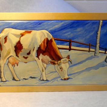 Framed Guernsey Cow Oil Painting on Wood, Farm Decor, Farm Oil Painting, Winter Scene Cow Painting, Farm Decor, Winter Scene Birch trees