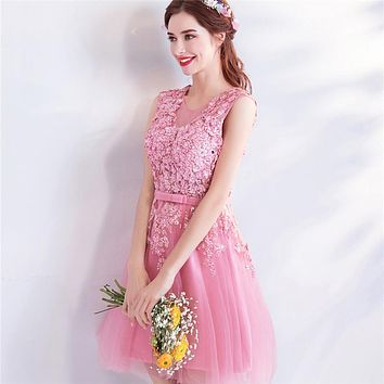 Pink Cocktail Dresses Bling Beading Sleeveless Flower Pattern Lave Up Party Short Dress