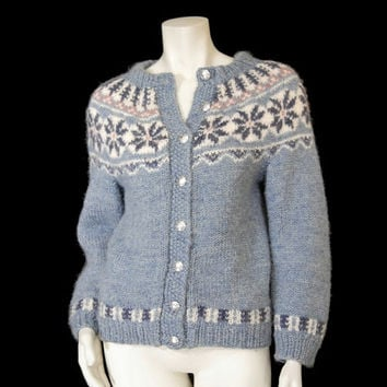 Vintage Nordic Fair Isle Sweater sz S Hand Knit Cardigan Denmark Blue Snowflake Pattern All Wool