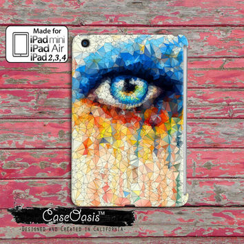 Eye Glass Shatter Watercolor Art Melted Tumblr Inspired Modern Art Eye Lashes Custom iPad Mini, iPad 2/3/4 and iPad Air Case Cover