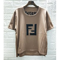 Fendi New fashion gem accessories letter top women Coffee