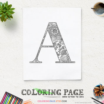 Coloring Page Printable Alphabet with Floral Texture Instant Download Digital Art Printable Coloring Pages Adult Anti Stress Art Therapy
