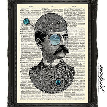 Steampunk Tinker Toy Maker Original Collage Print on an Unframed Upcycled Bookpage