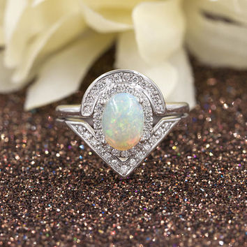 Rainbow Natural White Opal Engagement Ring Set, 0.38ct High Quality Diamonds.Opal Diamond Engagement Ring.14k White Gold Diamond Ring