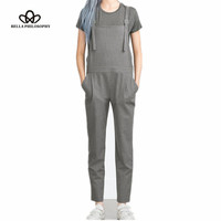 Bella Philosophy 2016 spring striped Pocket Sling feet overalls pants women long suspenders trousers gray