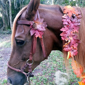 Autumn Leaves Bridle Ornament - Orange and Brown Horse Bridle Decoration - Fake Flowers Fall Horse Costume