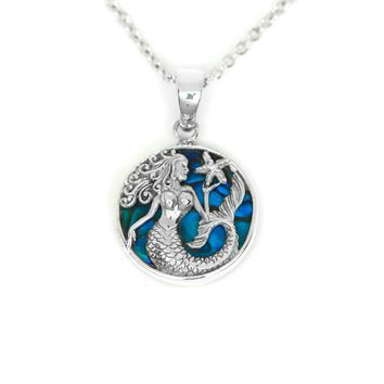 Sterling Silver Abalone Shell Mermaid and Starfish Pendant Necklace