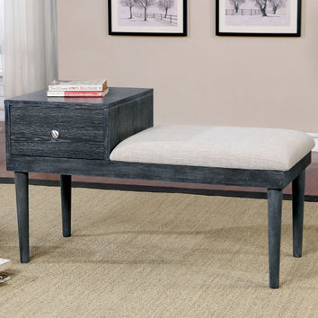 Furniture of america CM-BN6294BR Lebrocq weathered gray finish wood gossip bedroom bench