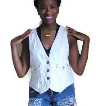 Vintage Designer Bill Blass 80s White Denim Jean Vest with Copper Hardware Size P Large