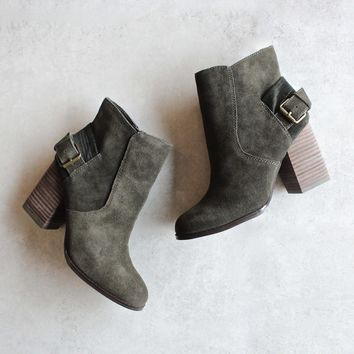 Sbicca   Lorenza   Suede Leather Ankle Booties   Forest Green
