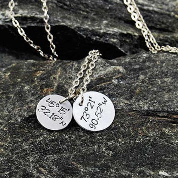 coordinate necklace location hand stamped custom necklace latitude and longitude GPS coordinates lobster clasp