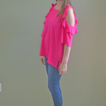 In the Game Ruffle Top: Neon Pink