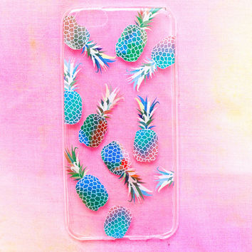 Electric Pineapple Clear iPhone Case