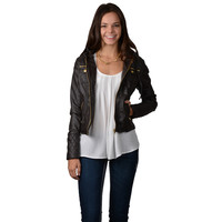 Hailey Jeans Co. Juniors Wet Look Hooded Zip Jacket