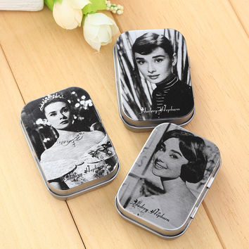 New Vintage Beautiful Audrey Hepburn Iron Place Pick Earring Rings Women Jewelry Storage Small Metal Boxes Case Hot