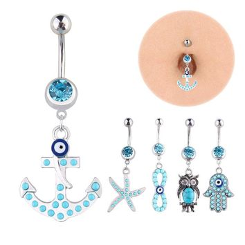 2017 New Fashion 1 pcs Multi-shaped Silver Navel Piercing Navel Belly Button Rings Women Body Jewelry Belly Piercing