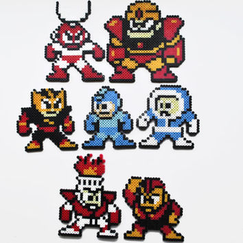 Mega Man and Six Robot Masters Perler Bead Magnets Nintendo