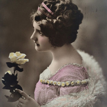 Beautiful lady with white rose, collectable vintage postcard, elegant romantic image, postmarked 1912.