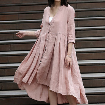 Spring Dress Long Sleeve Dress Shirt Loose Fitting Blouse Long Shirt Dress-CF011