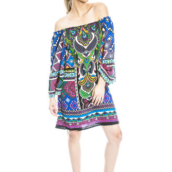 Moroccan Dreams Off Shoulder Dress