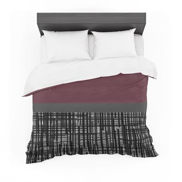 "Trebam ""Polu"" Maroon Black Modern Contemporary Digital Vector Featherweight Duvet Cover"