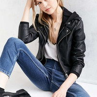Silence + Noise Hooded Moto Jacket - Urban Outfitters
